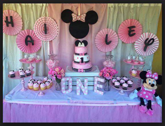Peachy 1St Minnie Mouse Birthday Theme Ideas Cake Cupcakes Tableware Funny Birthday Cards Online Elaedamsfinfo
